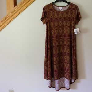 🍁 LuLaRoe Carly Dress XS - Burnt Orange/Burgundy